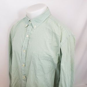 J Crew Shirt Sz XL L/S Green Button Down Checked